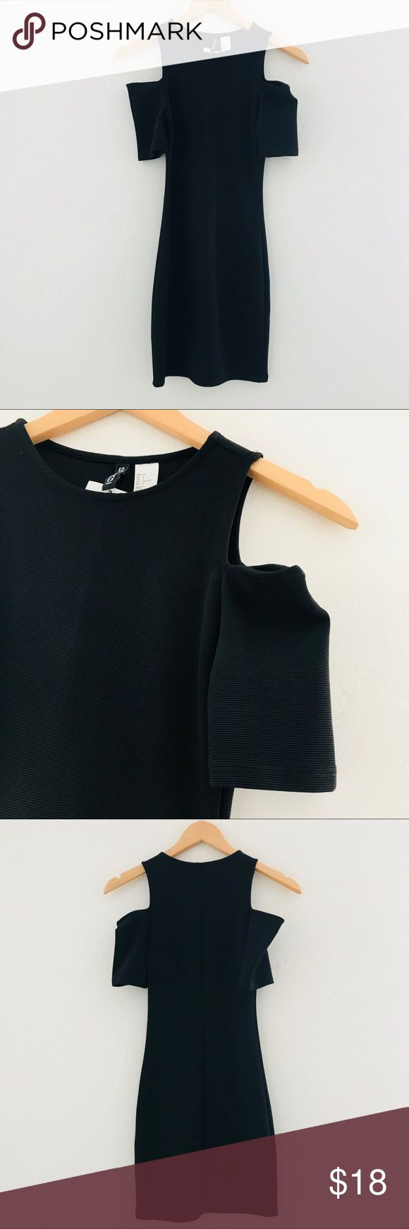 NEW Black Cold Shoulder Dress NWT cute and classic black dress with cold shoulder cut outs and short sleeves. Can be dressed up or dressed down. H&M Dresses Mini