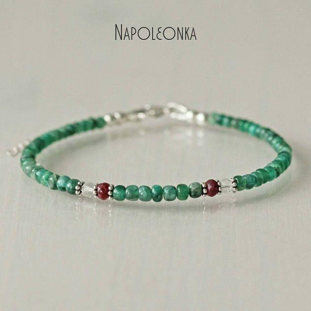 Bracelet Ruby Emerald Rock Crystal Thin Healing Gemstone Silver Shine Beadwork Beaded Jewelry Skinny Friendship Bangle Delicate Bracelet by Napoleonka on Etsy