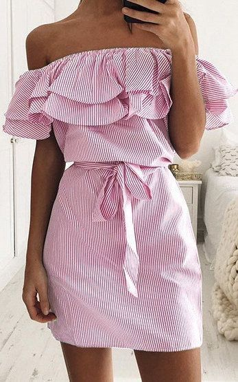 Pretty off the shoulder pink dress