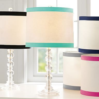 ribbon or dottie pool lamp shade from PB teen- $35, use white or clear lamp base.  Ribbon Trim Table Shade #pbteen