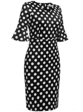 ANGVNS Siyah Kadınlar 1950'lerde Vintage Stil Yarım Flare Kol Polka Dot Düğün Party Bodycon Kokteyl Elbiselerini Çıkarıyor