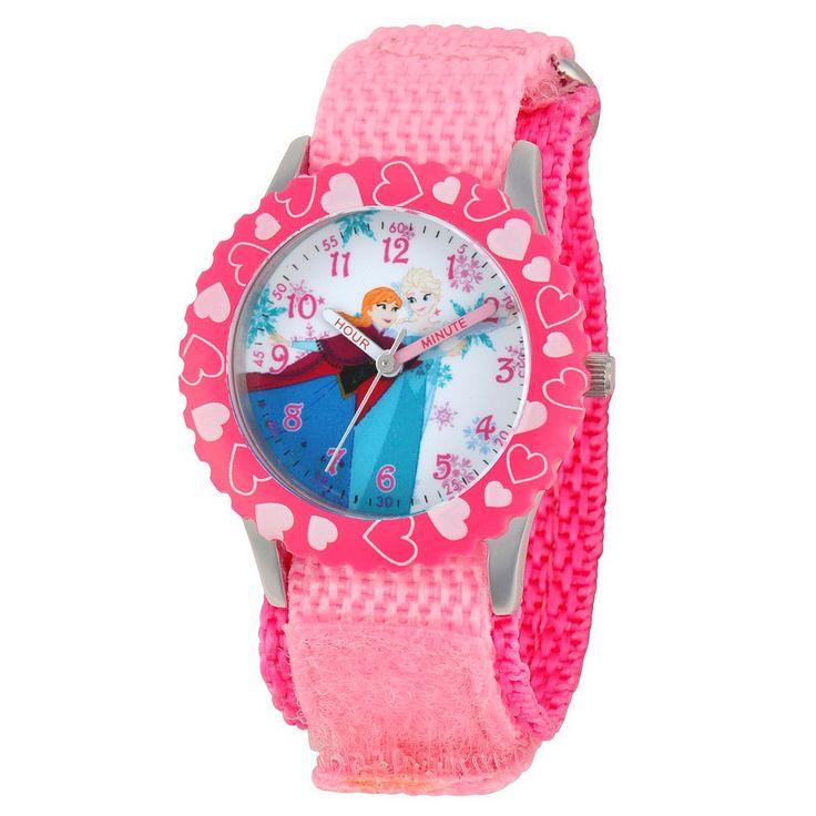 Disney Girls' Frozen Anna and Elsa Stainless Steel Case with Bezel Watch - Pink, Girl's