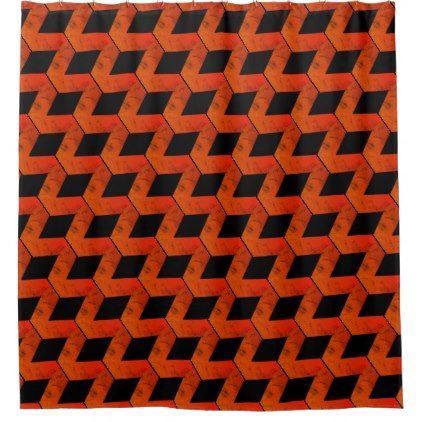 Geometric Squares Reds Orange   Black Shower Curtain   red gifts color  style cyo diyBest 25  Black shower curtains ideas on Pinterest   Brown curtains  . Orange And Black Shower Curtain. Home Design Ideas