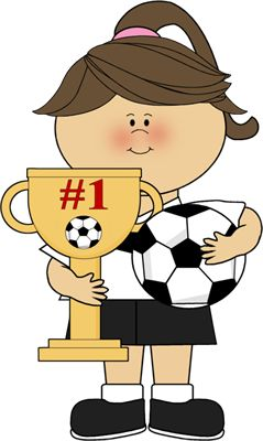 Girl With Soccer Trophy Clip Art - Girl With Soccer Trophy Image
