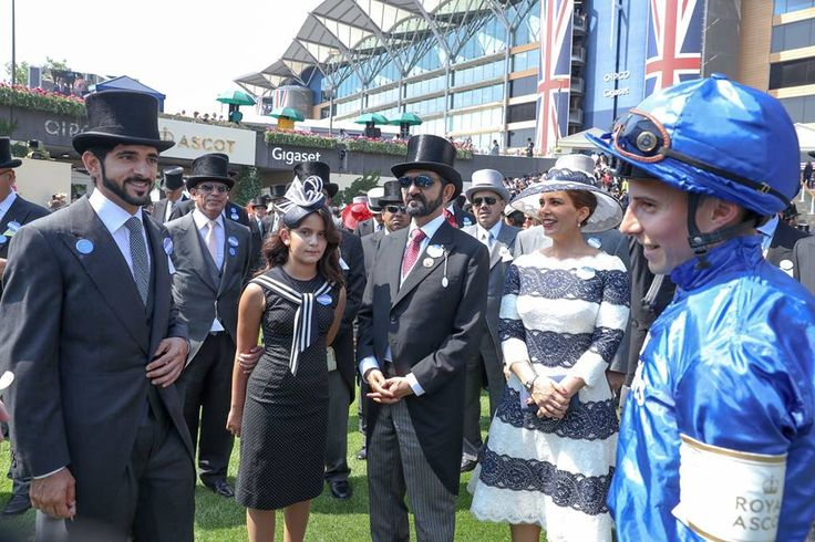 Hamdan bin Mohammed bin Rashid Al Maktoum, Al Jalila bint Mohammed bint Mohammed bin Rashid Al Maktoum, Mohammed bin Rashid bin Saeed Al Maktoum y Haya bint Al Hussein, Royal Ascot, 20/06/2017. Vía: Government of Dubai Media Office