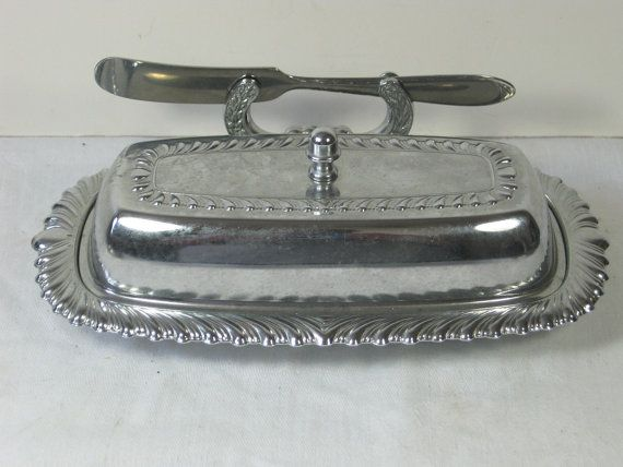 Vintage Butter Dish Stainless Metal W Glass Insert