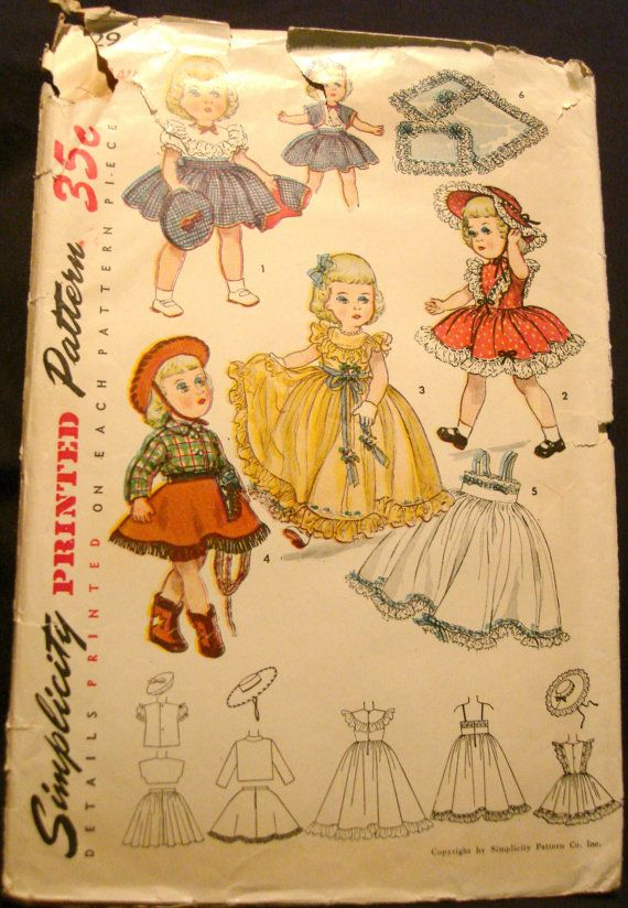 "1950s Toni Doll Clothes Pattern Simplicity 3729 Size for 14"" Dolls Cowgirl Gown Hats Bolero SUPER rare pattern for 14inch Toni Dolls"
