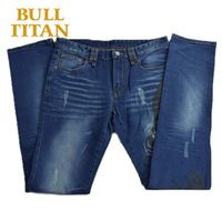 cowboy pants sexy summer style ripped print breathable windproof denim blue regular skinny washed jeans for men BULL TITAN