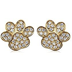 Small Sparkling Crystal Dog Puppy Cat Kitten Animal Paw Gold Tone Stud Earrings