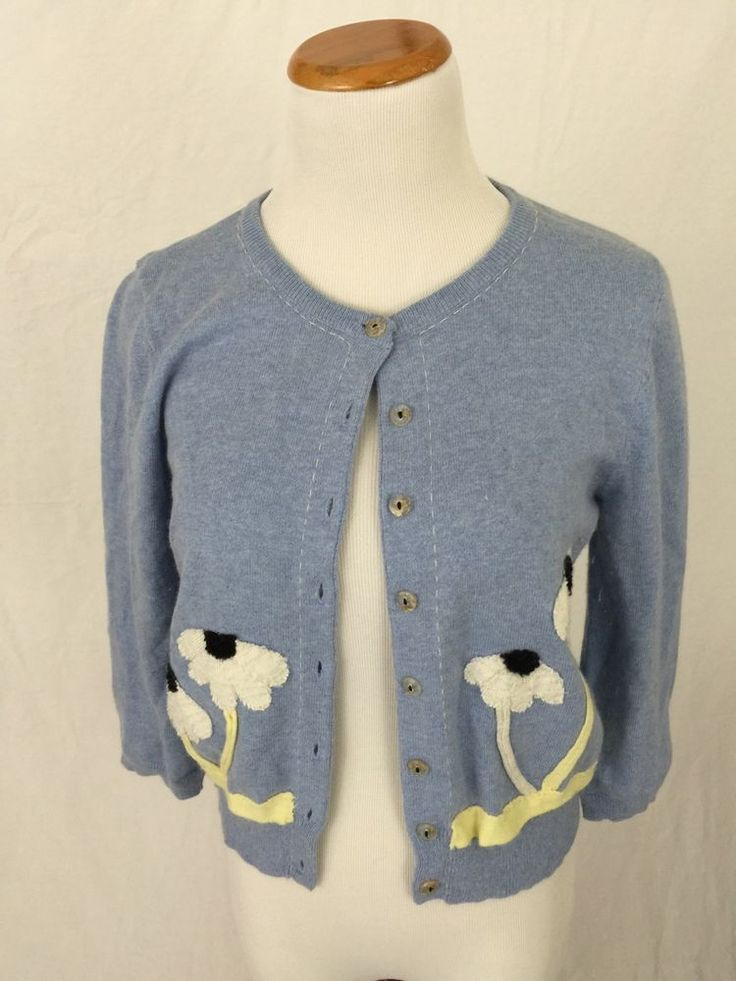 FIELD FLOWER Anthropologie blue cotton angora cardigan sweater M ...