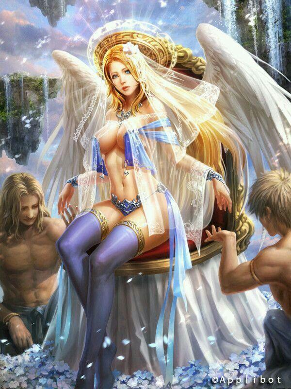 Sexy Fire Angel Fantasy Statue Pentagram Fallen