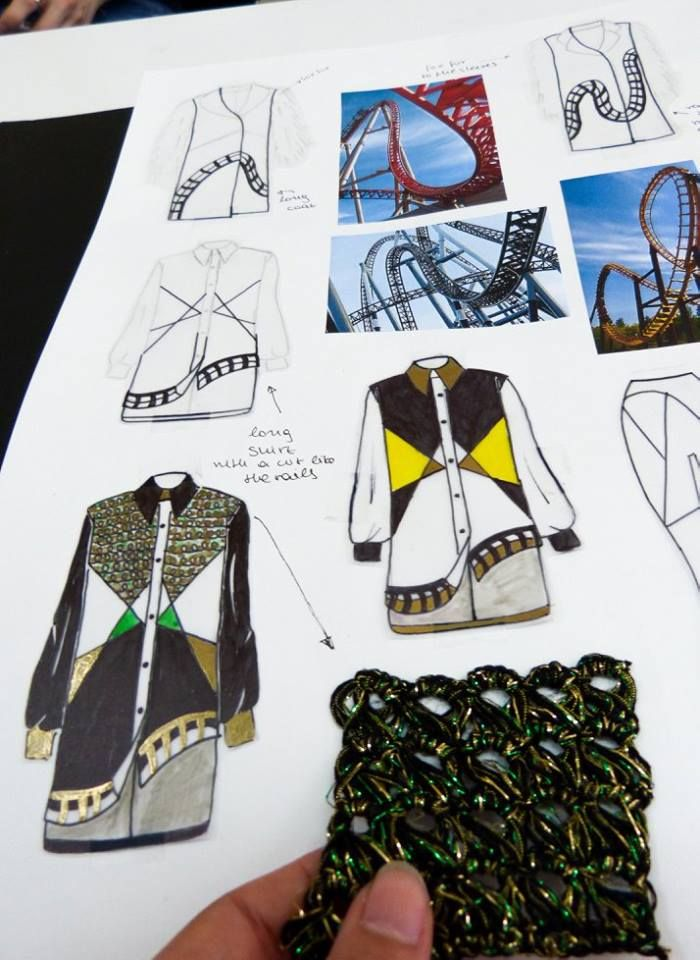 Crochet Technic into a shirt! Inspiration the rails of the roller coasters.  #Mega_Trend_Offbeat_Fashion_Sketchbook