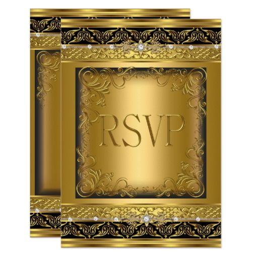 RSVP Reply Response Metallic Gold Black Diamond Card