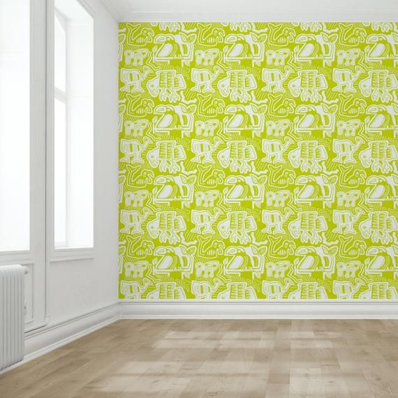 Removable Wallpaper Mola Mola In Lime Self Adhesive Etsy Removable Wallpaper Custom Nursery Art Wall Murals