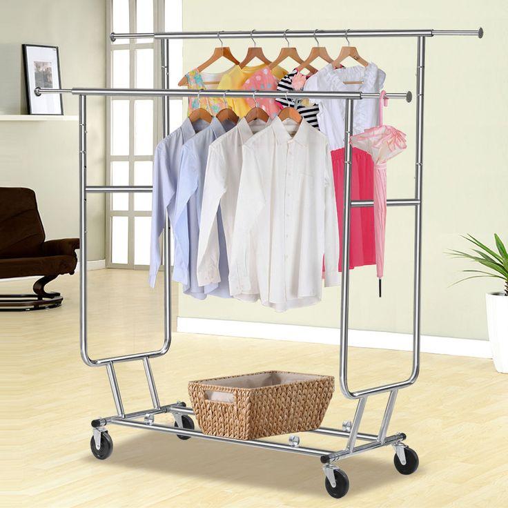 Commercial Grade Collapsible Clothing Rolling Double Garment Rack Hanger Holder | eBay