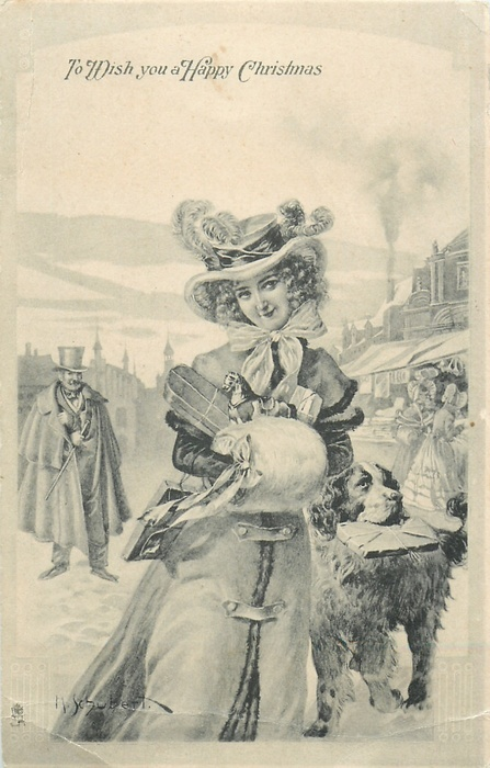 TO WISH YOU A HAPPY CHRISTMAS  lady walks down the town road, dog carries letter in mouth