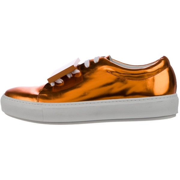 Pre-owned Acne Studios Metallic Adriana Sneakers (3.051.225 IDR) ❤ liked on Polyvore featuring shoes, sneakers, orange, leather sneakers, leather shoes, leather low top sneakers, leather lace up sneakers and leather trainers