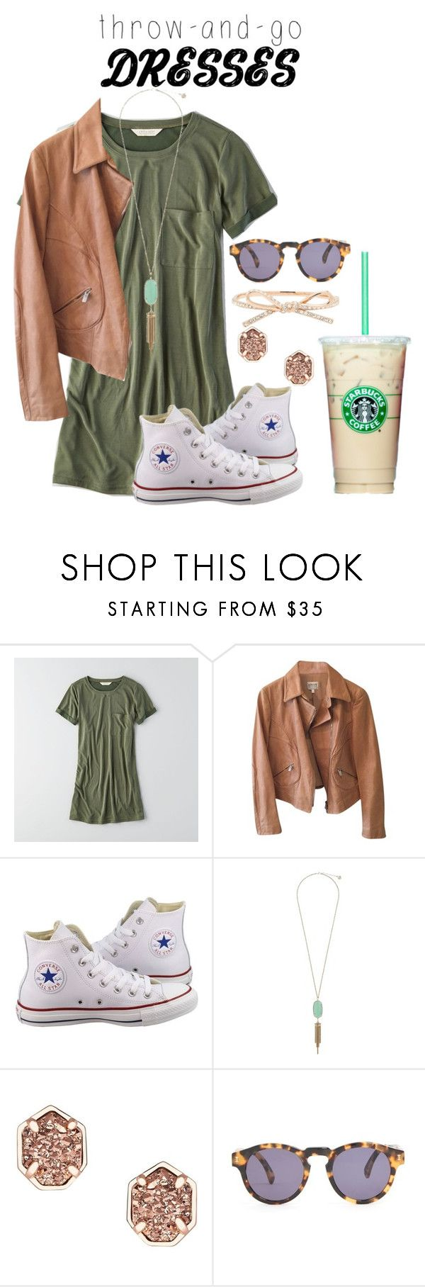 """""""Summer date: Starbucks and movie"""" by flroasburn ❤ liked on Polyvore featuring American Eagle Outfitters, Armani Collezioni, Converse, Kendra Scott, Illesteva and Kate Spade"""