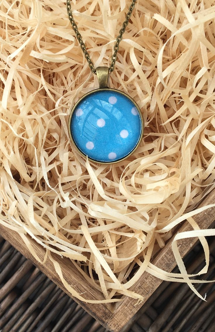 Turquoise pendant | Blue | Polka dot necklace | Glass Cabochon | Gift by TheCraftyFlorist on Etsy https://www.etsy.com/uk/listing/501189748/turquoise-pendant-blue-polka-dot