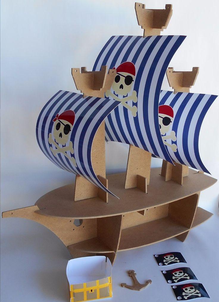 base stand barco pirata para cupcakes mdf al natural