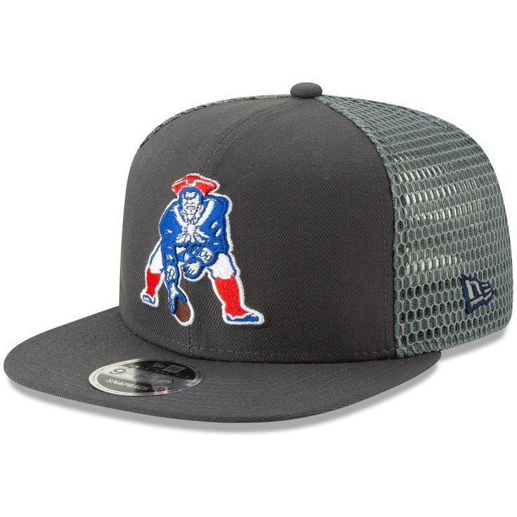 Men s New England Patriots New Era Graphite Throwback Logo Mesh Fresh  9FIFTY Adjustable Snapback Hat 946203e1f12f