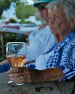 """SECRETS TO A LONG HAPPY MARRIAGE:  An old woman was sipping on a glass of wine, while sitting on the patio with her husband, and she says, """"I love you so much, I don't know how I could ever live without you""""... Her husband asks, """"Is that you, or the wine talking?""""... She replies, """"It's me... talking to the wine."""""""