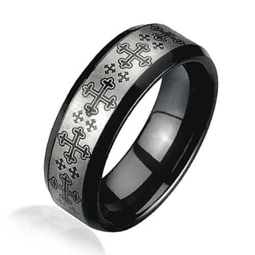 Bling Jewelry Medieval Cross Black and Silver Tungsten Ring 8mm