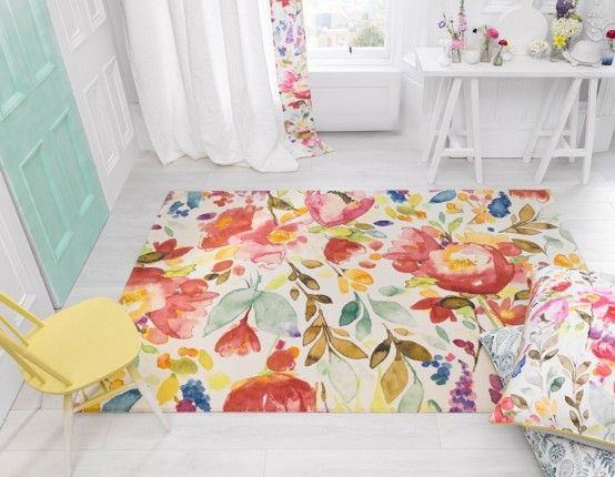 Subtle Watercolor Rugs Collection By Bluebellgray | i really like this though i'm not a floral person