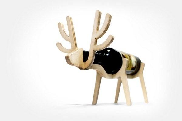 木製動物紅酒架