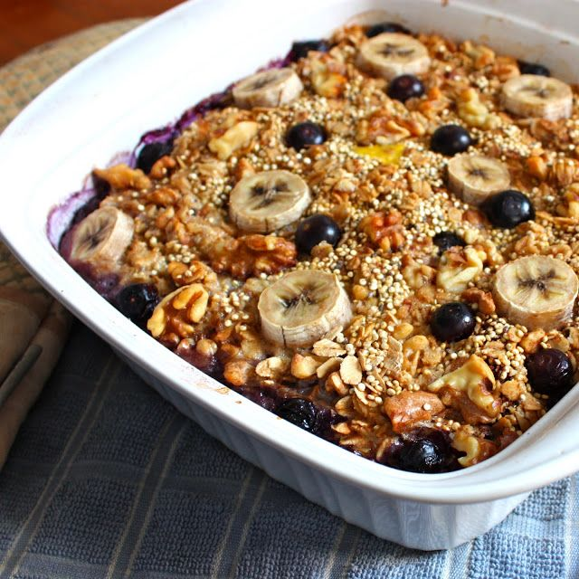 Get Off Your Tush and Cook: Quinoa-Oatmeal Bake with Blueberries, Bananas, and Walnuts