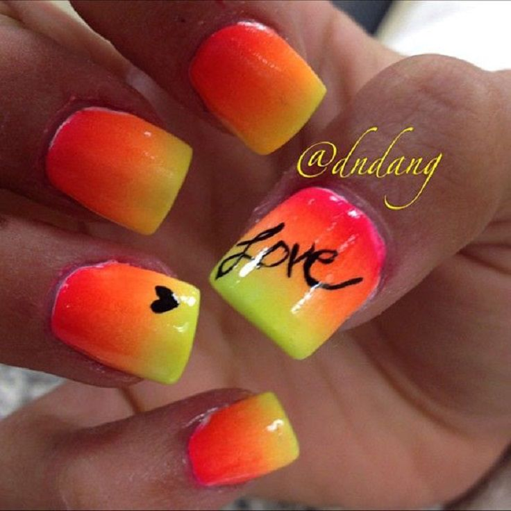 Top 10 Summer Nails For This Season--When we see this nail design we always think about the most beautiful summer sunset on the beach. Till the day you go on vacation, make these cheerful two coloured nails and decorate them with some word or other application.