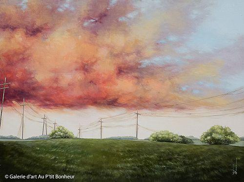 Tammy Shane, 'Nectarine Clouds', 36'' x 48'' | Galerie d'art - Au P'tit Bonheur - Art Gallery