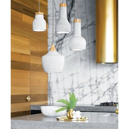 The beacon lighting sculpt 1 light drop pendant in concrete with ash wood and chrome detail