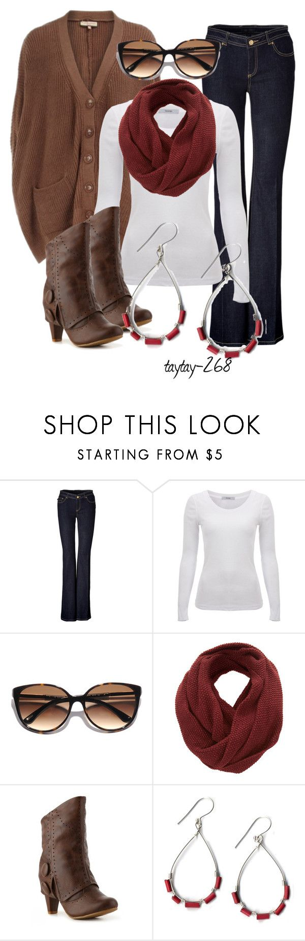 """""""These Boots"""" by taytay-268 ❤ liked on Polyvore featuring Rachel Zoe, Kate Spade, SELECTED, Not Rated, buckle ankle boots, infinity scarves, oversized cardigans, cardigans, ankle booties and flared jeans"""