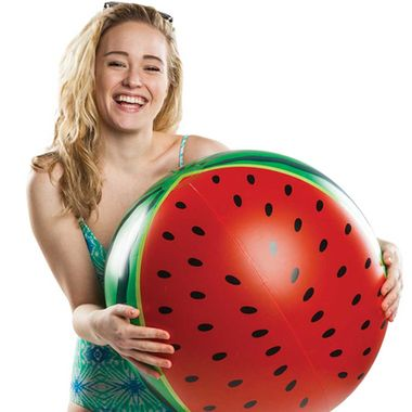 As tempting as it may be, don't go all Gallagher on our amazing One in a Melon Giant Watermelon Beach Ball! Quite the enjoyable way to freak out beach or party goers.  They'll think you've finally gon