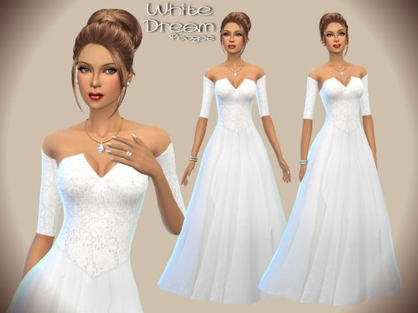 The Sims Resource: White Dream dress by Paogae • Sims 4 Downloads