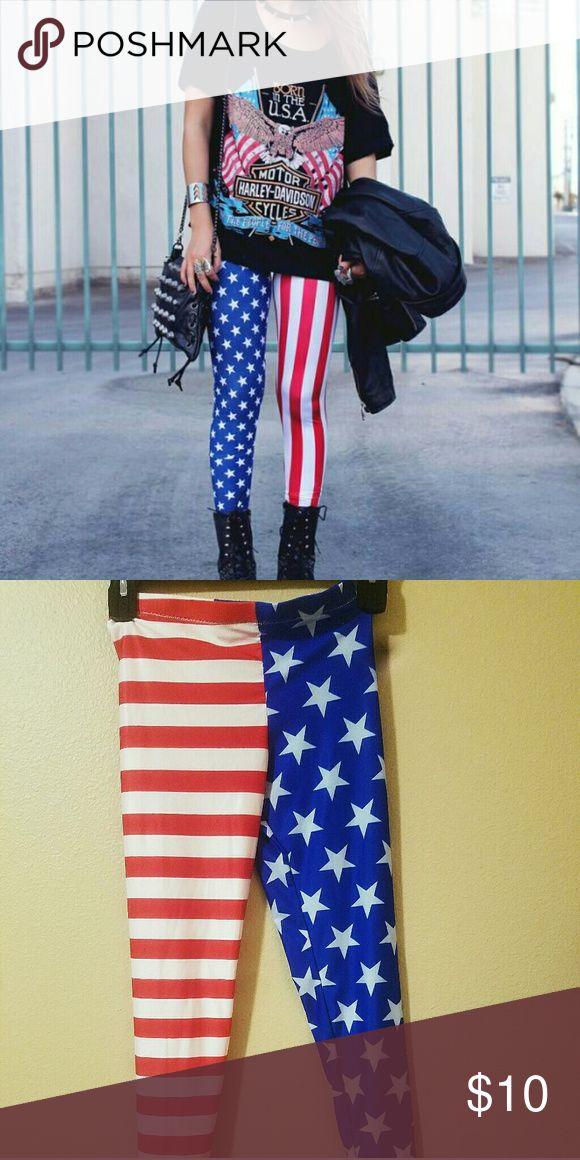 American Flag Leggings Never worn American flag leggings. Polyester and spandex. Handmade, from Etsy. High quality. Blackmilk for exposure. #Indie #Hipster #Festival #Punk Blackmilk Pants Leggings