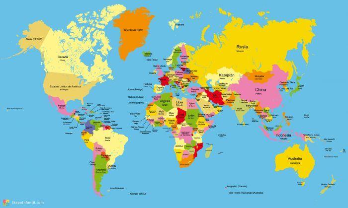 Mapamundi político para imprimir