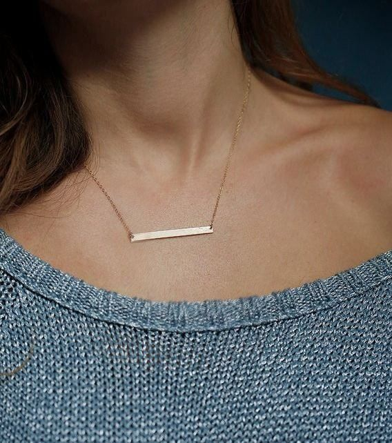 "* Gold Minimalist Bar necklace * Length: 17 inches * Pendant size: 1"" long * Will ship within 1-2 business days (from US) * Great gift ideas - mother's day, birthday, Christmas, Thanksgiving, annivers"