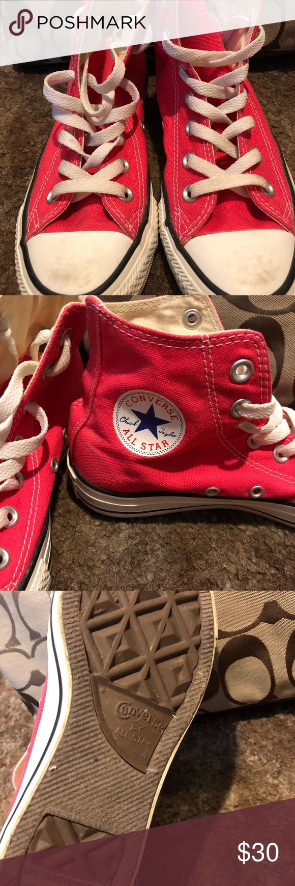 Hot Pink High Top Converse Good condition, only worn a handful of times. Some scuffing on toes as seen in pictures. Otherwise no other known stains. Insides are good also as shown. Bottoms intact too! Converse Shoes Sneakers