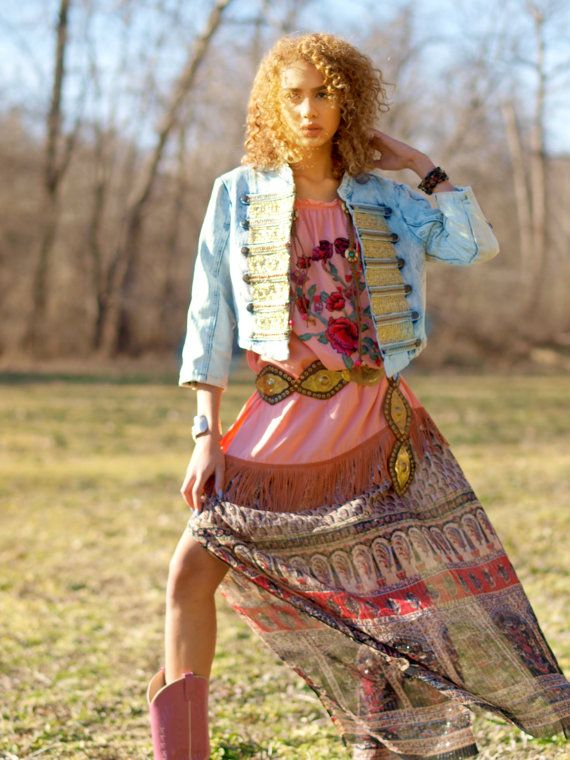 Ready Now M Vintage upcycled bohemian denim acid by TheLookFactory
