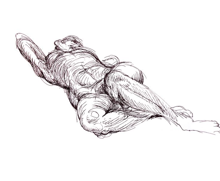 10 minutes croquis sketch. Female model. Pigment pen. By Naja Abelsen www.najaabelsen.dk