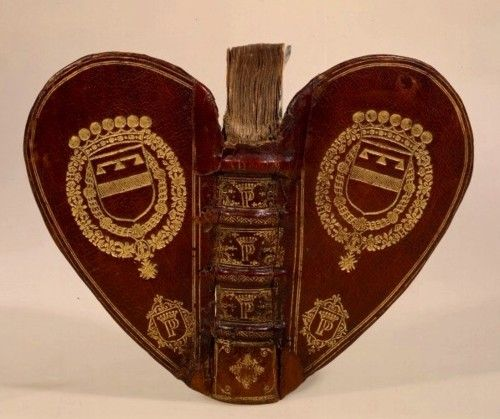 cover of antique heart-shaped book