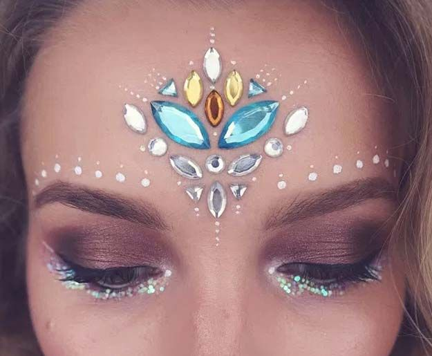Festival Makeup Tutorials - Gemstone Festival Makeup Magic - Awesome Glitter and Rhinestone Make Up Ideas for the Next Rave or Summer Music Festival - Awesome Tribal and Bohemian Looks For Summer Plus a Great Gold Boho Tutorial for the Next EDM Show - thegoddess.com/festival-makeup-tutorials
