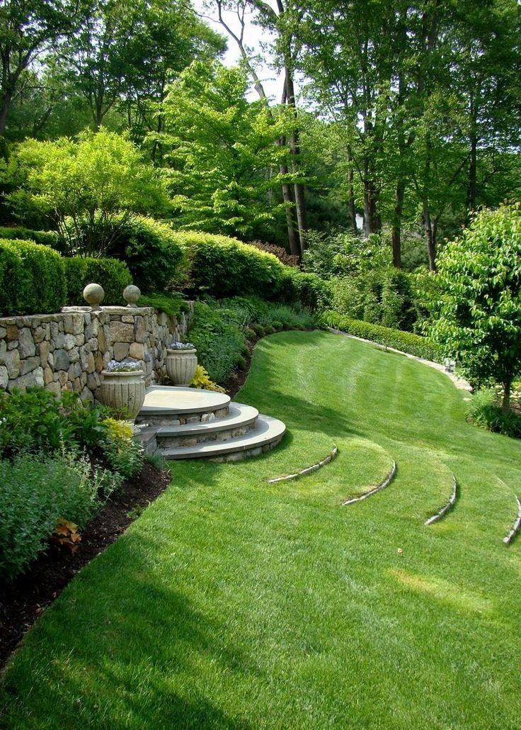 A Take On Grasses In 2020 Sloped Backyard Backyard Landscaping Acreage Landscaping