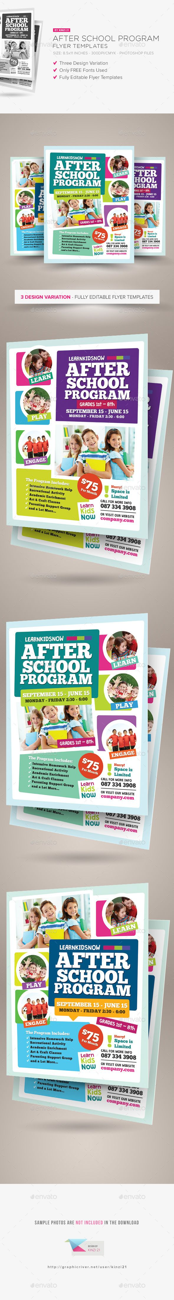 After School Program Flyer Template PSD #design Download: http://graphicriver.net/item/after-school-program-flyer-templates/14518919?ref=ksioks