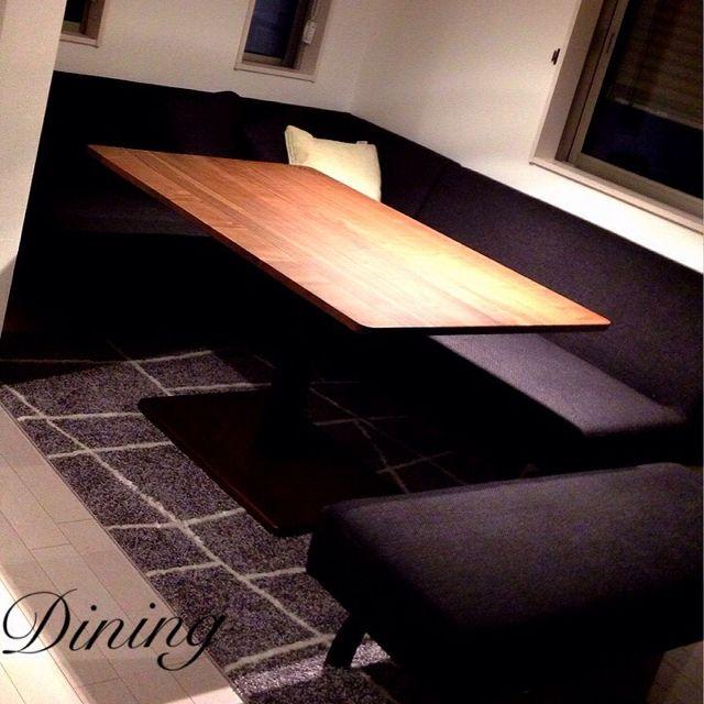 Reiさんの、スタイリッシュ,モダン,ダイニングテーブル,無垢,ダイニングソファ,リビング,のお部屋写真