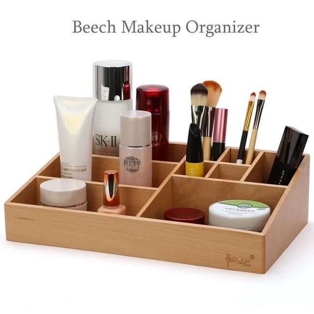 High Quality Beech Soild Storage Box Wooden Tabletop Makeup Organizer