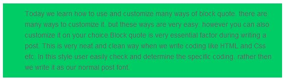 Blockquote customization green image