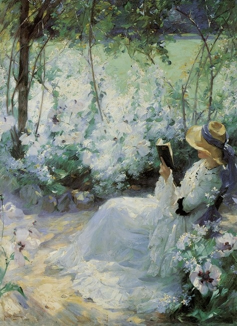 This beautiful print of a woman reading a book in this dreamy, restful setting is called Delicious Solitude and is a favorite!